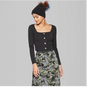 Women's Long Sleeve Square Neck T-Shirt - 74-194